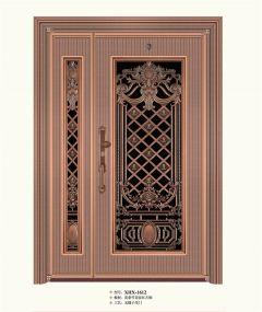 入户门-子母直条红古铜无缝-新豪轩门窗